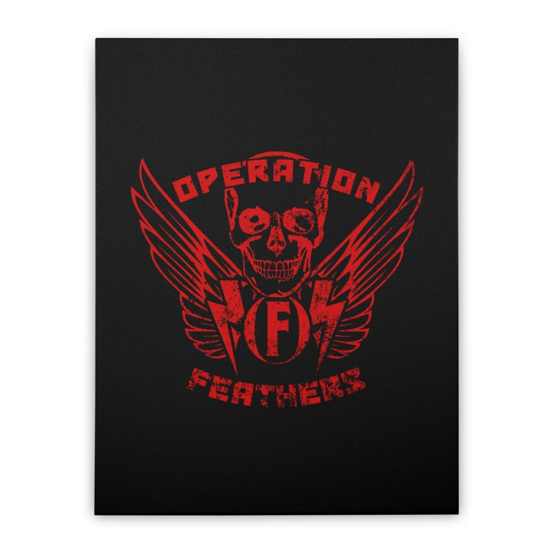 Operation Feathers Logo - Distressed Dark Red on Black Home Stretched Canvas by The Evocative Workshop's SFX Art Studio Shop