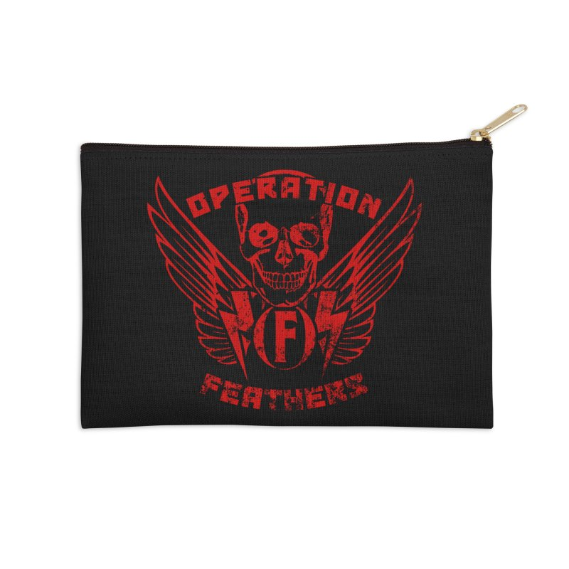 Operation Feathers Logo - Distressed Dark Red on Black Accessories Zip Pouch by The Evocative Workshop's SFX Art Studio Shop