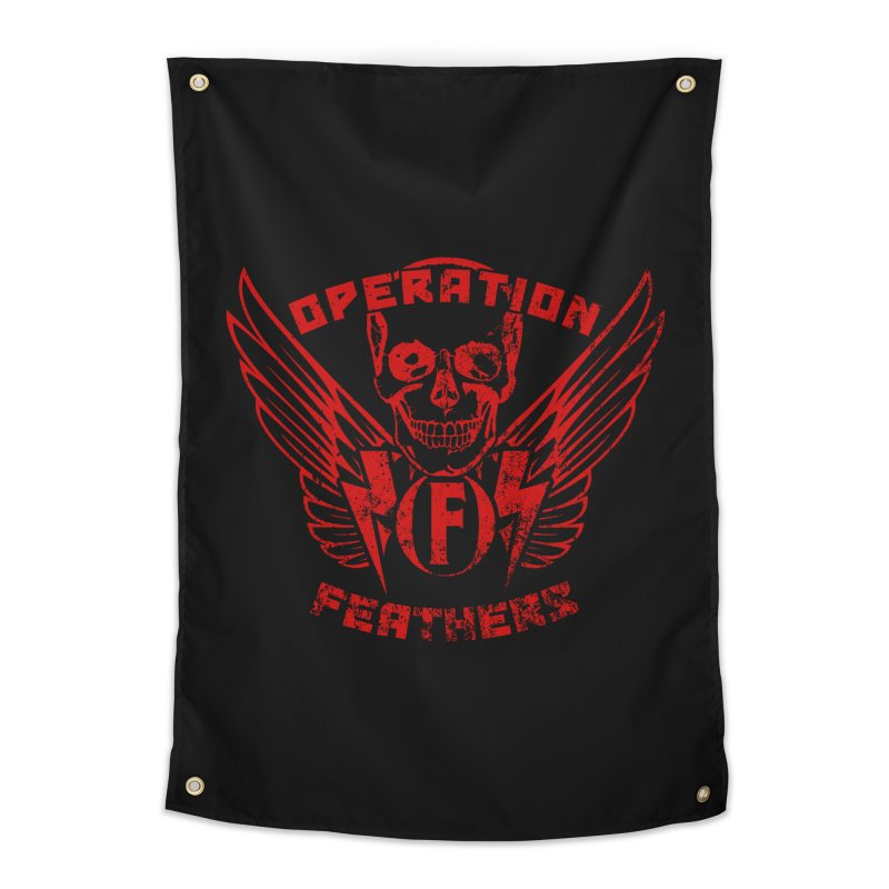 Operation Feathers Logo - Distressed Dark Red on Black Home Tapestry by The Evocative Workshop's SFX Art Studio Shop