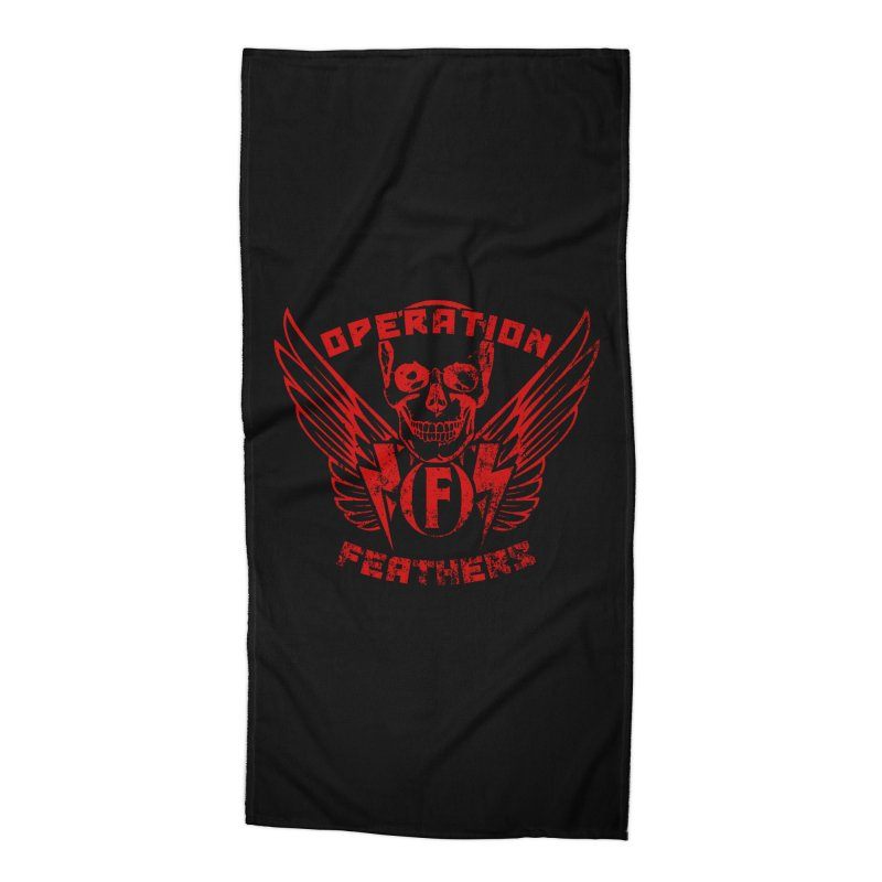 Operation Feathers Logo - Distressed Dark Red on Black Accessories Beach Towel by The Evocative Workshop's SFX Art Studio Shop