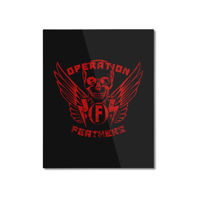 Operation Feathers Logo - Distressed Dark Red on Black Home Mounted Aluminum Print by The Evocative Workshop's SFX Art Studio Shop