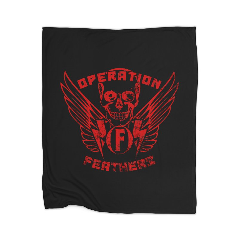 Operation Feathers Logo - Distressed Dark Red on Black Home Blanket by The Evocative Workshop's SFX Art Studio Shop