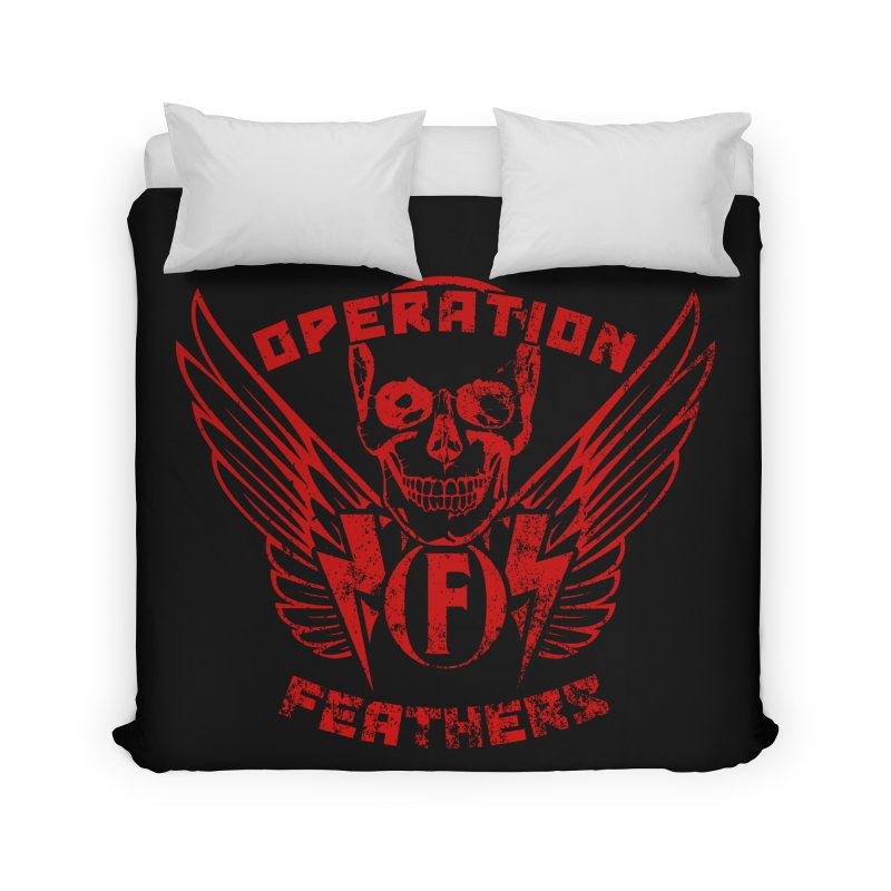Operation Feathers Logo - Distressed Dark Red on Black Home Duvet by The Evocative Workshop's SFX Art Studio Shop