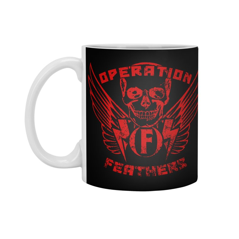 Operation Feathers Logo - Distressed Dark Red on Black Accessories Standard Mug by The Evocative Workshop's SFX Art Studio Shop