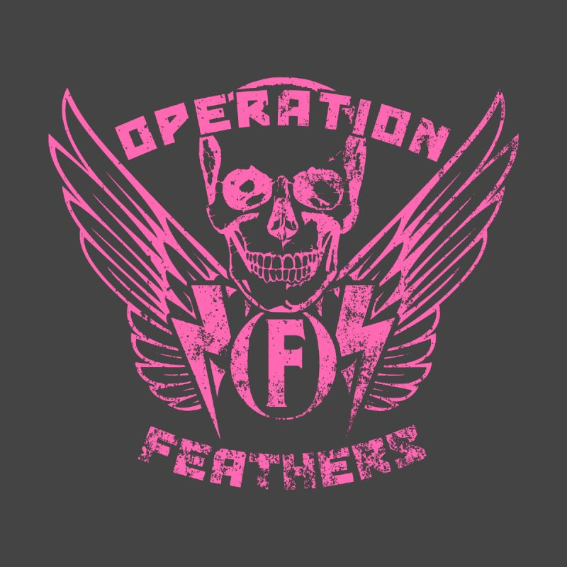Operation Feathers Logo - Distressed Hot Pink on Dark Grey Home Stretched Canvas by The Evocative Workshop's SFX Art Studio Shop