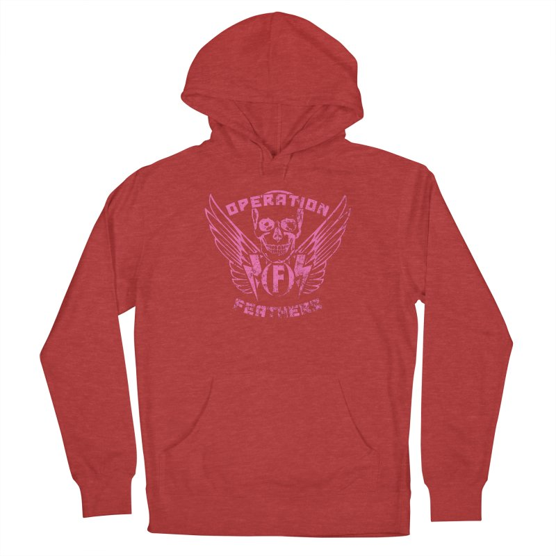 Operation Feathers Logo - Distressed Hot Pink on Dark Grey Men's Pullover Hoody by The Evocative Workshop's SFX Art Studio Shop