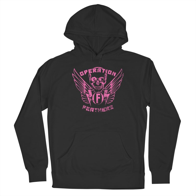 Operation Feathers Logo - Distressed Hot Pink on Dark Grey Women's Pullover Hoody by The Evocative Workshop's SFX Art Studio Shop