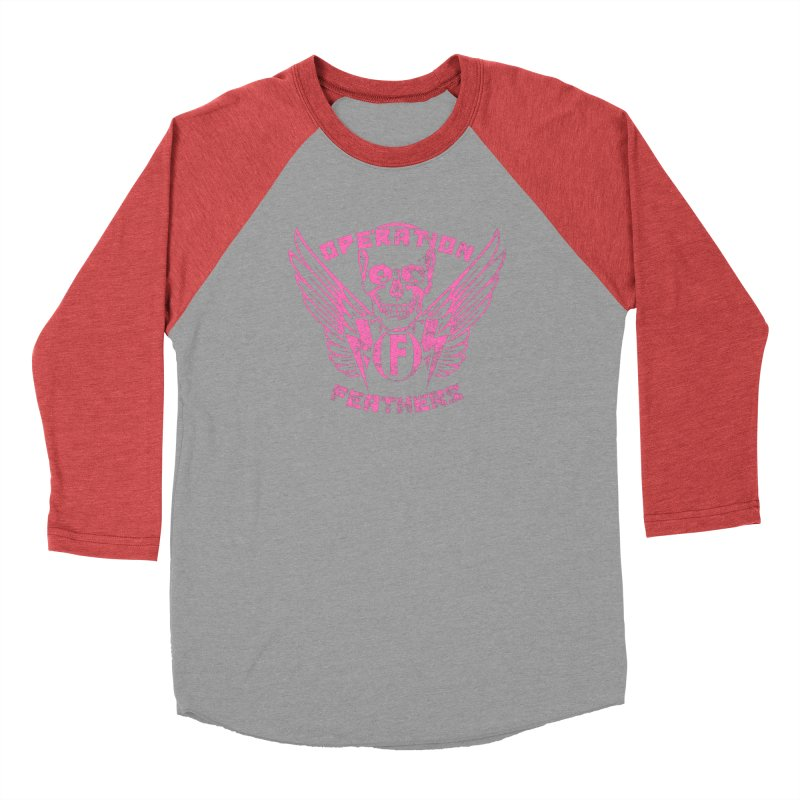 Operation Feathers Logo - Distressed Hot Pink on Dark Grey Women's Baseball Triblend Longsleeve T-Shirt by The Evocative Workshop's SFX Art Studio Shop