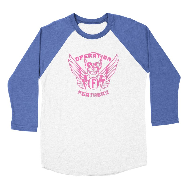 Operation Feathers Logo - Distressed Hot Pink on Dark Grey Men's Baseball Triblend Longsleeve T-Shirt by The Evocative Workshop's SFX Art Studio Shop