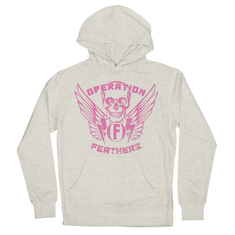 Operation Feathers Logo - Distressed Hot Pink on Dark Grey Women's French Terry Pullover Hoody by The Evocative Workshop's SFX Art Studio Shop