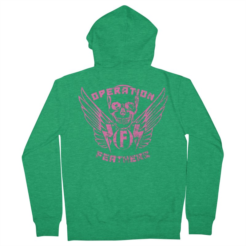 Operation Feathers Logo - Distressed Hot Pink on Dark Grey Men's Zip-Up Hoody by The Evocative Workshop's SFX Art Studio Shop
