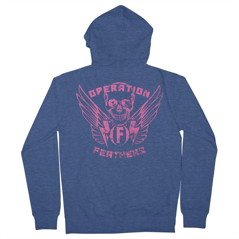 Operation Feathers Logo - Distressed Hot Pink on Dark Grey Men's French Terry Zip-Up Hoody by The Evocative Workshop's SFX Art Studio Shop