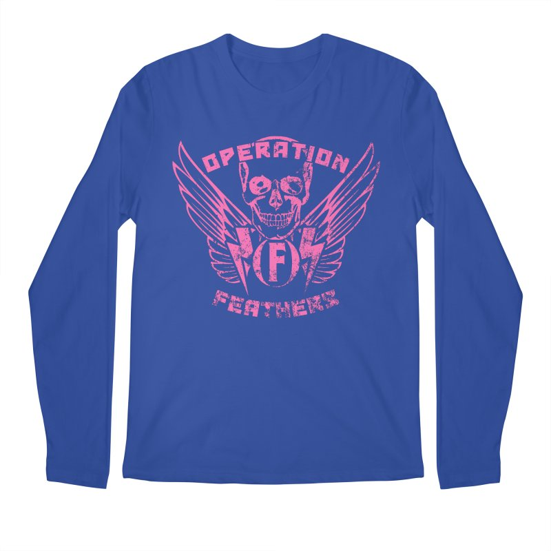 Operation Feathers Logo - Distressed Hot Pink on Dark Grey Men's Regular Longsleeve T-Shirt by The Evocative Workshop's SFX Art Studio Shop