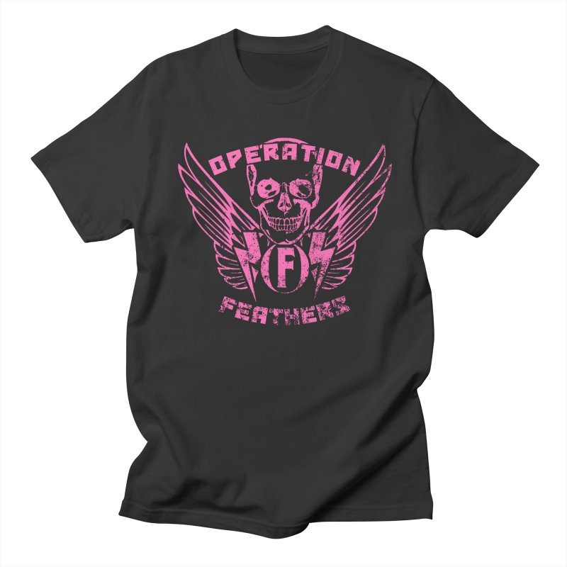 Operation Feathers Logo - Distressed Hot Pink on Dark Grey Men's T-Shirt by The Evocative Workshop's SFX Art Studio Shop