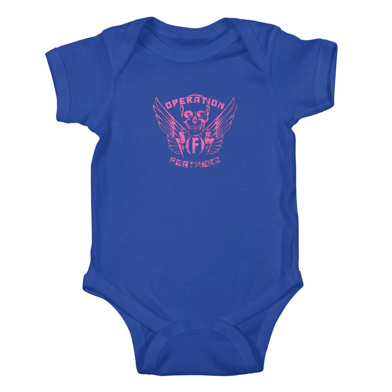 Operation Feathers Logo - Distressed Hot Pink on Dark Grey Kids Baby Bodysuit by The Evocative Workshop's SFX Art Studio Shop