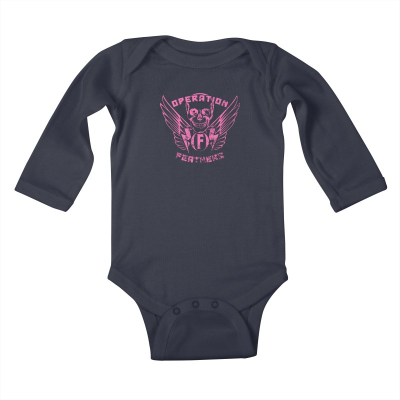 Operation Feathers Logo - Distressed Hot Pink on Dark Grey Kids Baby Longsleeve Bodysuit by The Evocative Workshop's SFX Art Studio Shop