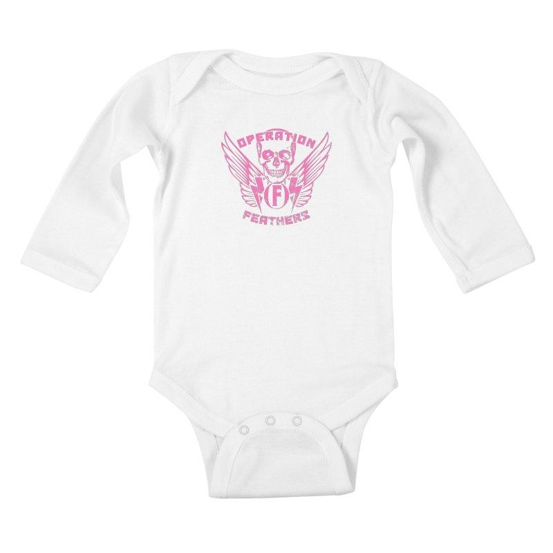 Operation Feathers Logo - Distressed Hot Pink on Dark Grey Kids Baby Longsleeve Bodysuit by The Evocative Workshop's SFX Art Studio Shop