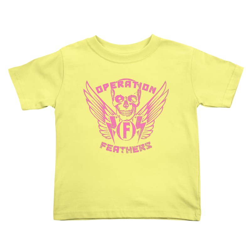 Operation Feathers Logo - Distressed Hot Pink on Dark Grey Kids Toddler T-Shirt by The Evocative Workshop's SFX Art Studio Shop