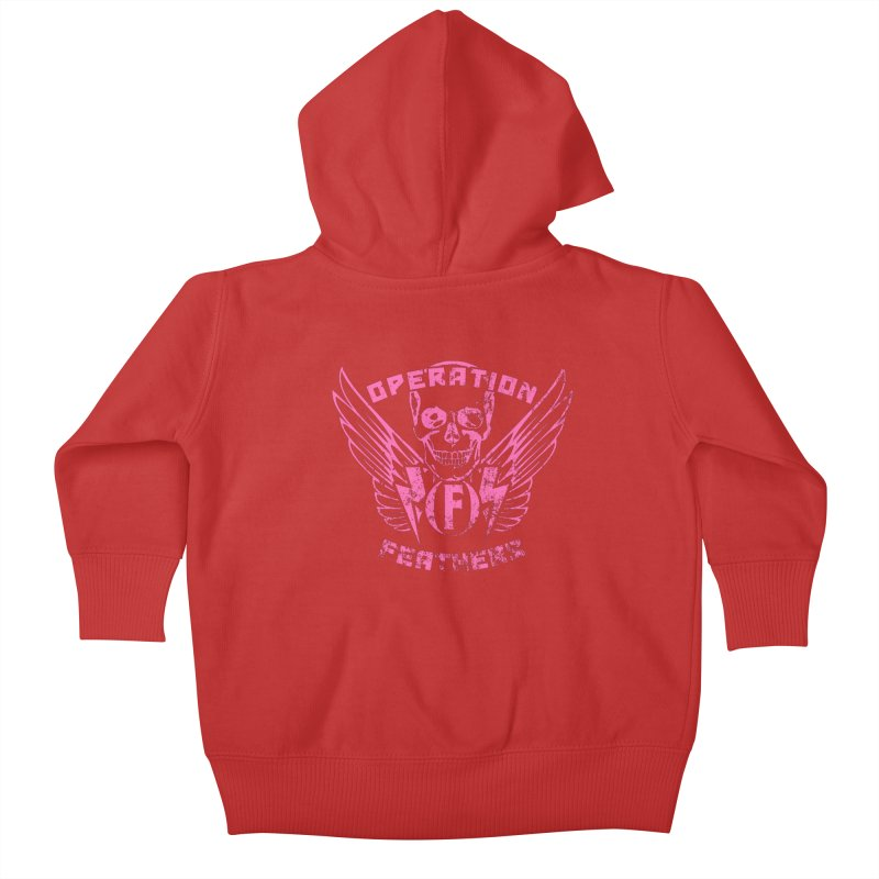 Operation Feathers Logo - Distressed Hot Pink on Dark Grey Kids Baby Zip-Up Hoody by The Evocative Workshop's SFX Art Studio Shop