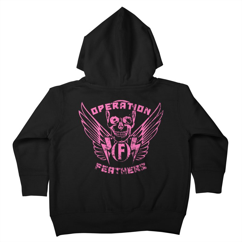 Operation Feathers Logo - Distressed Hot Pink on Dark Grey Kids Toddler Zip-Up Hoody by The Evocative Workshop's SFX Art Studio Shop