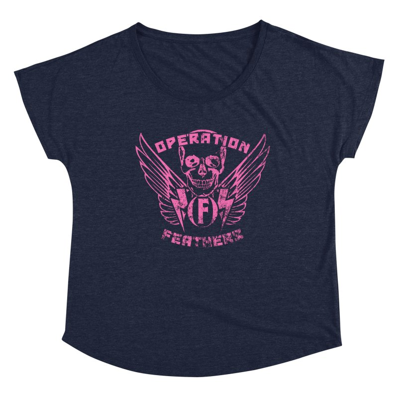 Operation Feathers Logo - Distressed Hot Pink on Dark Grey Women's Scoop Neck by The Evocative Workshop's SFX Art Studio Shop