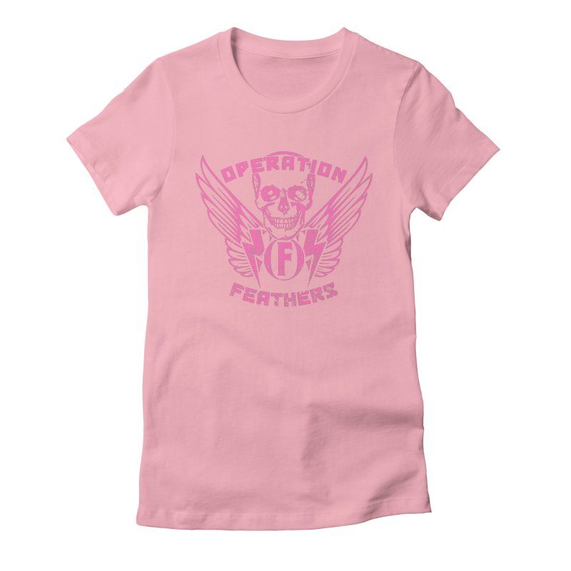 Operation Feathers Logo - Distressed Hot Pink on Dark Grey Women's Fitted T-Shirt by The Evocative Workshop's SFX Art Studio Shop