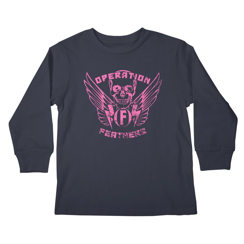Operation Feathers Logo - Distressed Hot Pink on Dark Grey Kids Longsleeve T-Shirt by The Evocative Workshop's SFX Art Studio Shop