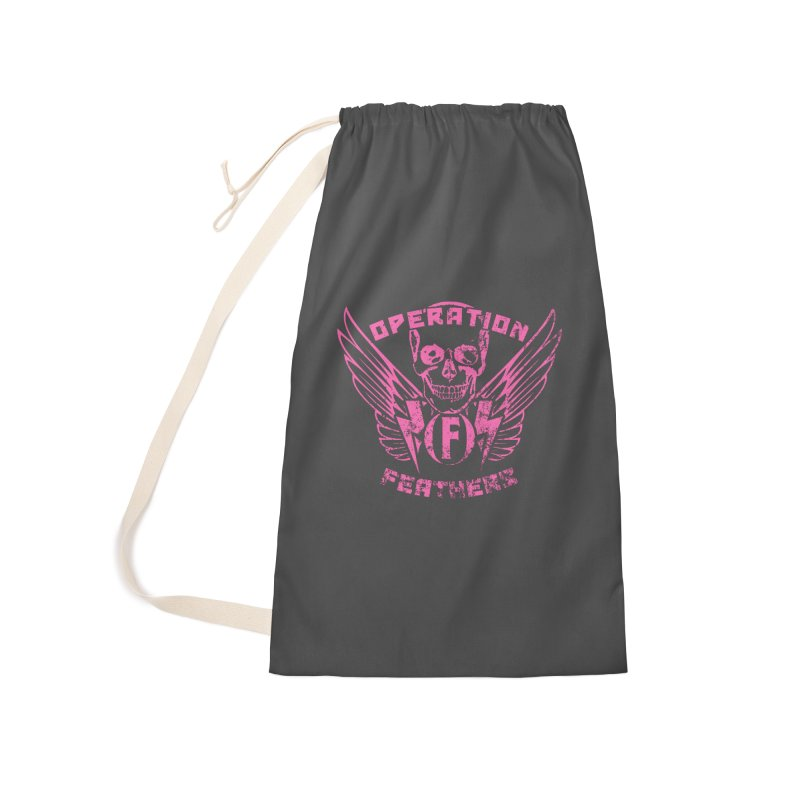 Operation Feathers Logo - Distressed Hot Pink on Dark Grey Accessories Laundry Bag Bag by The Evocative Workshop's SFX Art Studio Shop