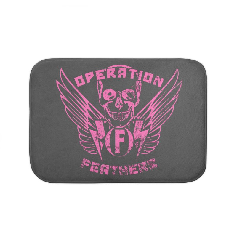 Operation Feathers Logo - Distressed Hot Pink on Dark Grey Home Bath Mat by The Evocative Workshop's SFX Art Studio Shop