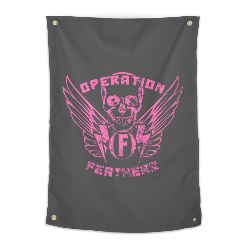 Operation Feathers Logo - Distressed Hot Pink on Dark Grey Home Tapestry by The Evocative Workshop's SFX Art Studio Shop