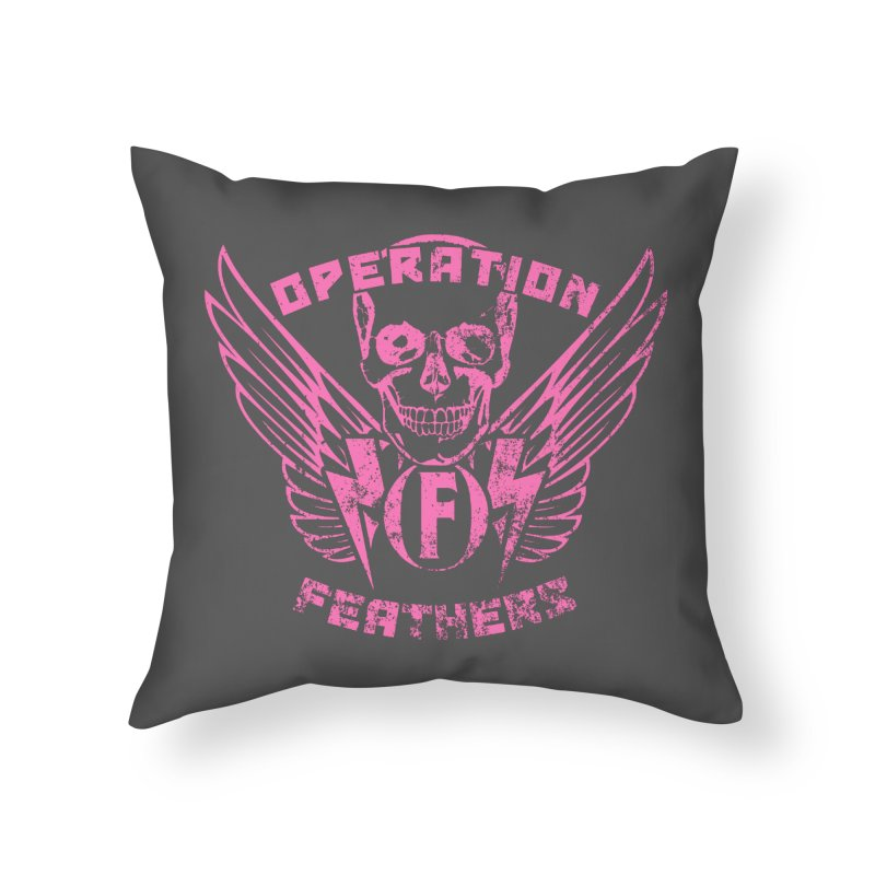 Operation Feathers Logo - Distressed Hot Pink on Dark Grey Home Throw Pillow by The Evocative Workshop's SFX Art Studio Shop