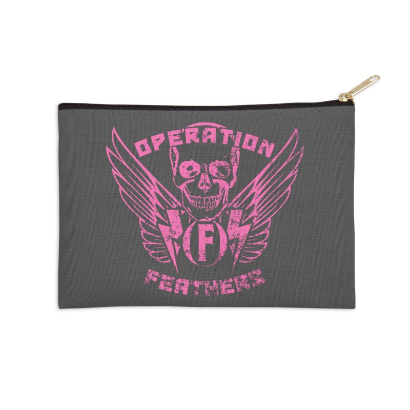 Operation Feathers Logo - Distressed Hot Pink on Dark Grey Accessories Zip Pouch by The Evocative Workshop's SFX Art Studio Shop