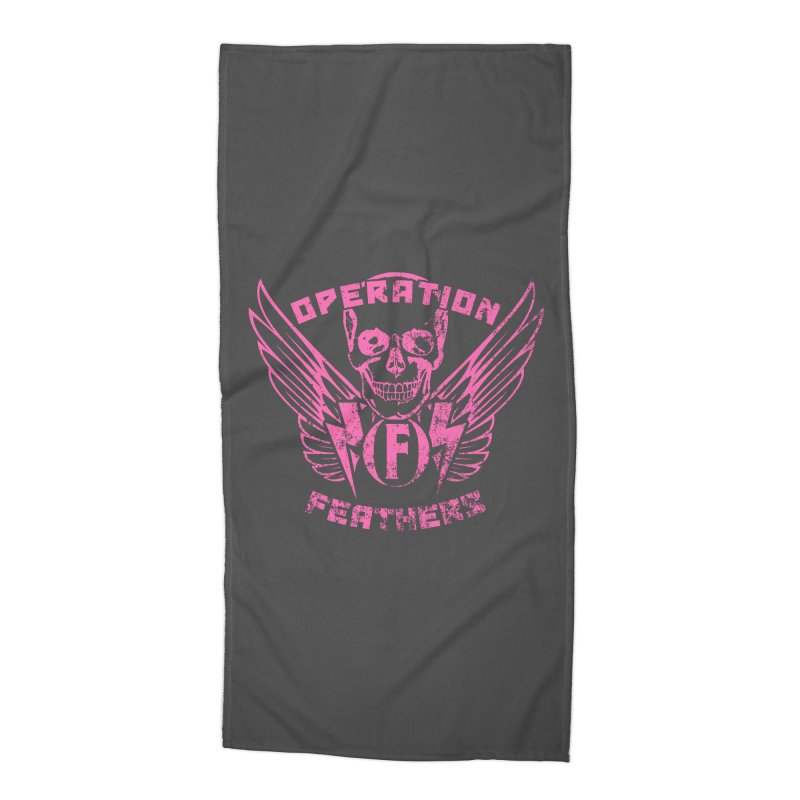 Operation Feathers Logo - Distressed Hot Pink on Dark Grey Accessories Beach Towel by The Evocative Workshop's SFX Art Studio Shop