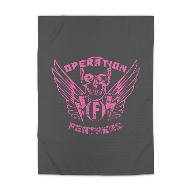 Operation Feathers Logo - Distressed Hot Pink on Dark Grey Home Rug by The Evocative Workshop's SFX Art Studio Shop