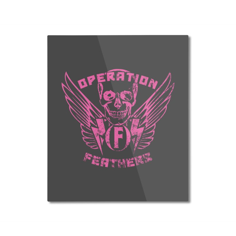 Operation Feathers Logo - Distressed Hot Pink on Dark Grey Home Mounted Aluminum Print by The Evocative Workshop's SFX Art Studio Shop
