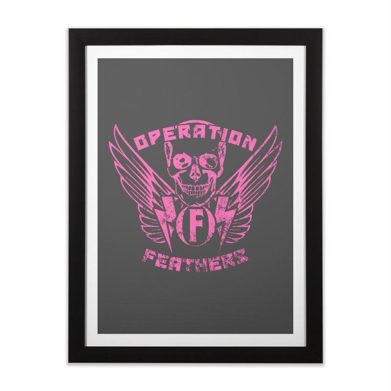Operation Feathers Logo - Distressed Hot Pink on Dark Grey Home Framed Fine Art Print by The Evocative Workshop's SFX Art Studio Shop