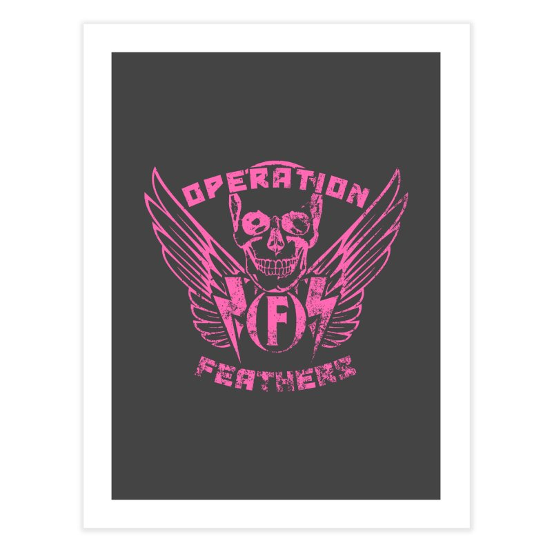 Operation Feathers Logo - Distressed Hot Pink on Dark Grey Home Fine Art Print by The Evocative Workshop's SFX Art Studio Shop