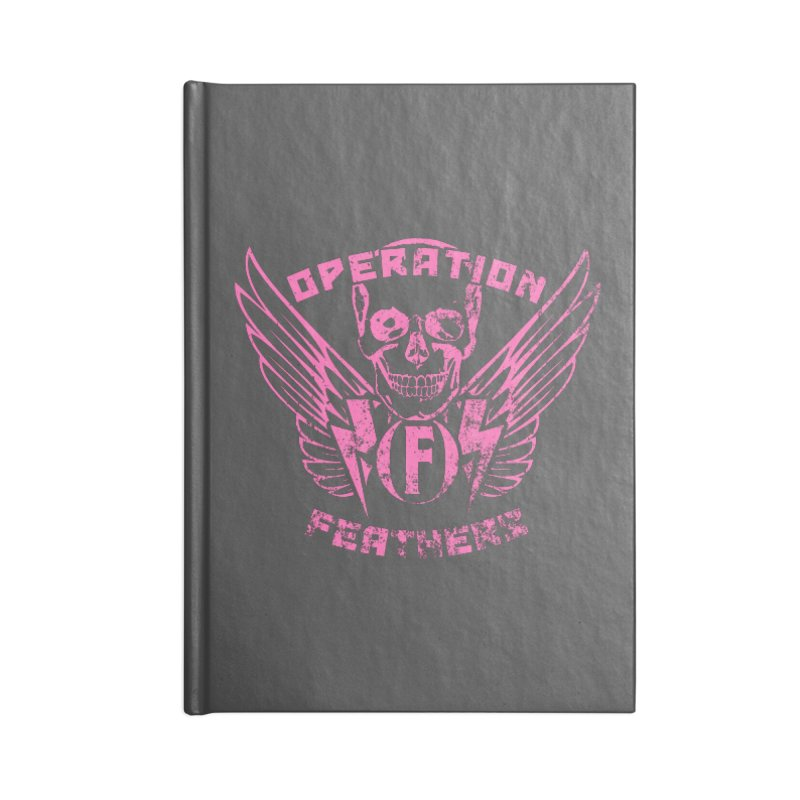 Operation Feathers Logo - Distressed Hot Pink on Dark Grey Accessories Blank Journal Notebook by The Evocative Workshop's SFX Art Studio Shop