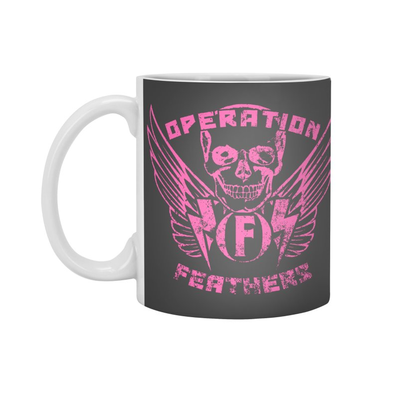 Operation Feathers Logo - Distressed Hot Pink on Dark Grey Accessories Standard Mug by The Evocative Workshop's SFX Art Studio Shop