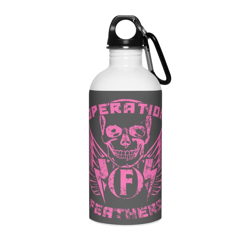 Operation Feathers Logo - Distressed Hot Pink on Dark Grey Accessories Water Bottle by The Evocative Workshop's SFX Art Studio Shop