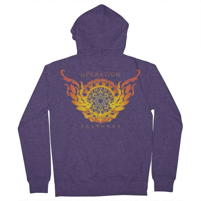 O.F. Mandala of Power - Orange Sunburst Men's French Terry Zip-Up Hoody by The Evocative Workshop's SFX Art Studio Shop
