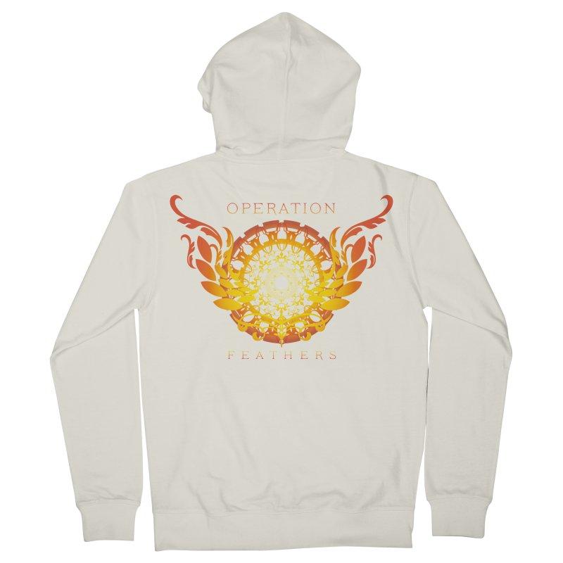 O.F. Mandala of Power - Orange Sunburst Men's French Terry Zip-Up Hoody by The Evocative Workshop's SFX Art Studio Shop