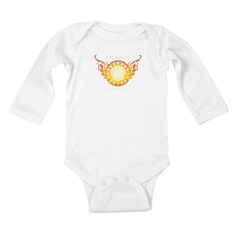 O.F. Mandala of Power - Orange Sunburst Kids Baby Longsleeve Bodysuit by The Evocative Workshop's SFX Art Studio Shop