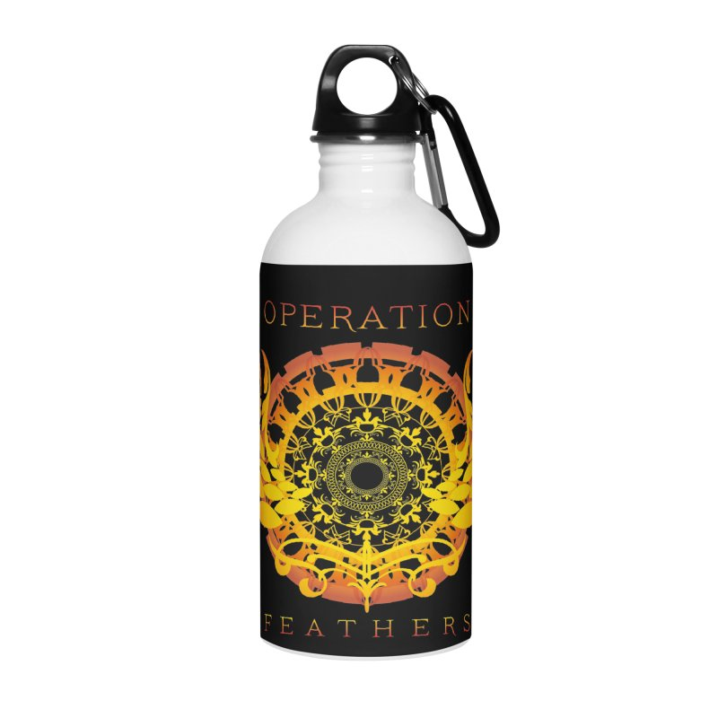 O.F. Mandala of Power - Orange Sunburst Accessories Water Bottle by The Evocative Workshop's SFX Art Studio Shop