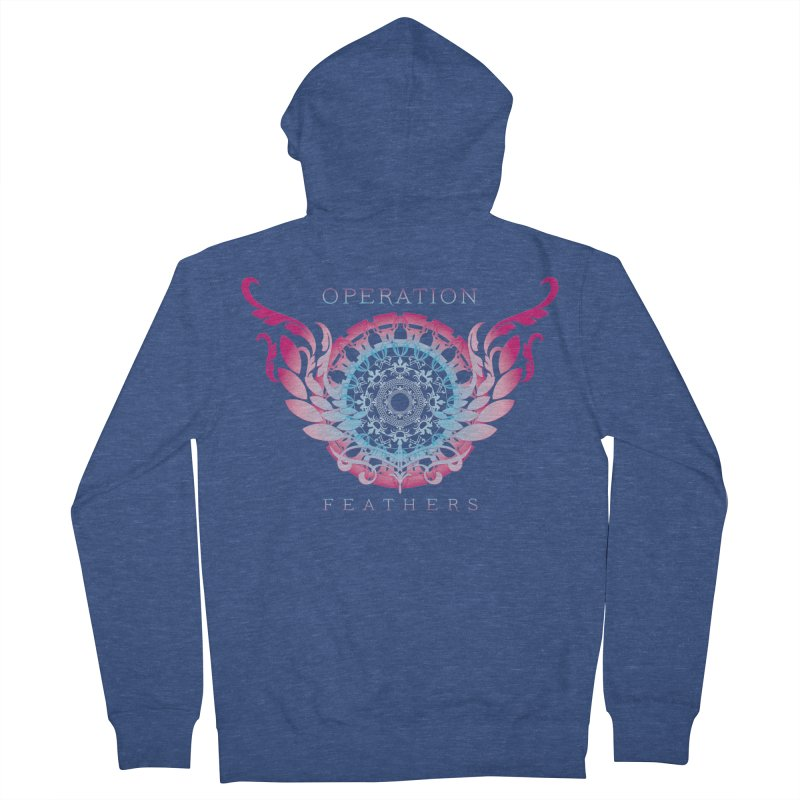 O.F. Mandala of Power - Blue Pinkburst Women's French Terry Zip-Up Hoody by The Evocative Workshop's SFX Art Studio Shop