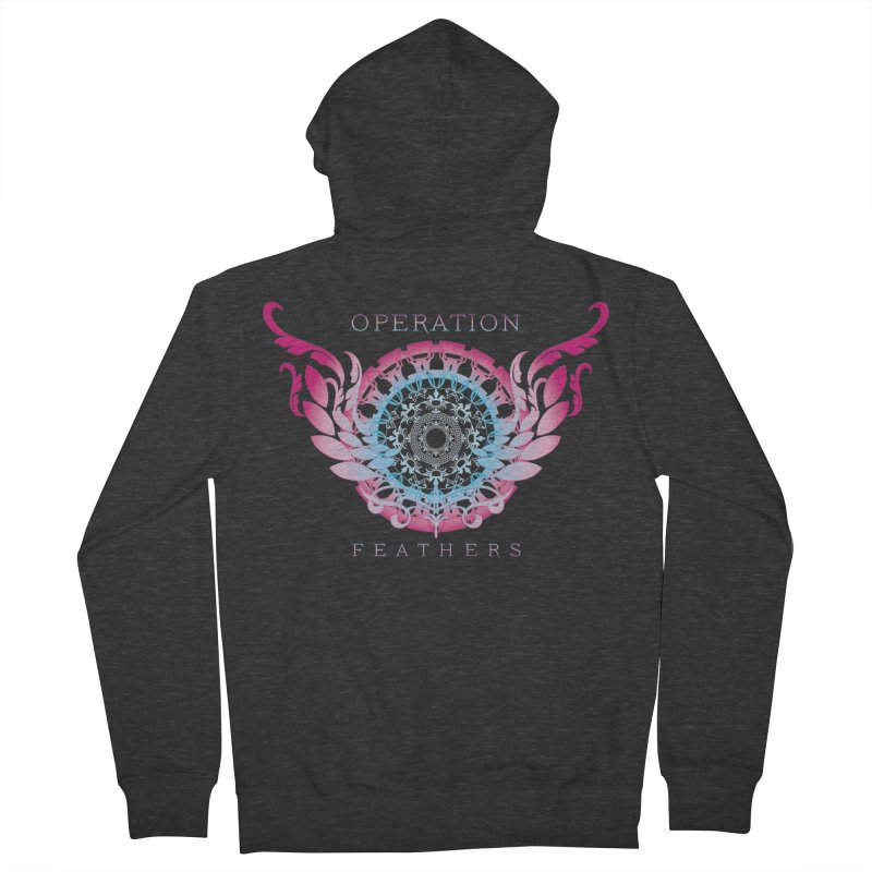 O.F. Mandala of Power - Blue Pinkburst Men's French Terry Zip-Up Hoody by The Evocative Workshop's SFX Art Studio Shop