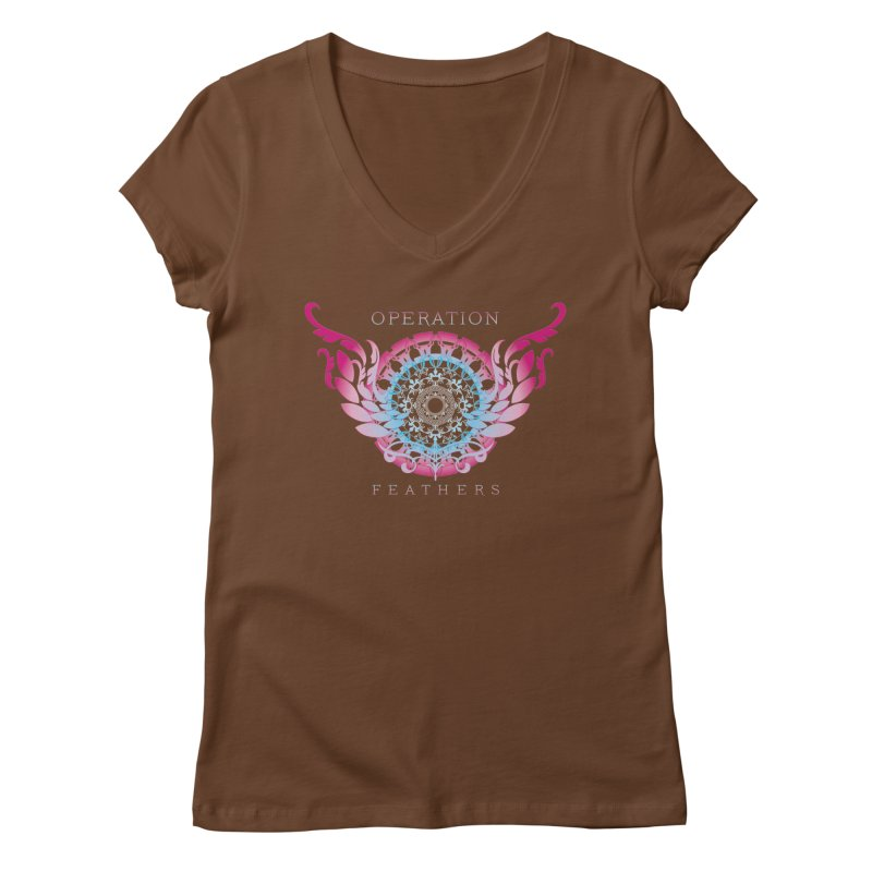 O.F. Mandala of Power - Blue Pinkburst Women's V-Neck by The Evocative Workshop's SFX Art Studio Shop
