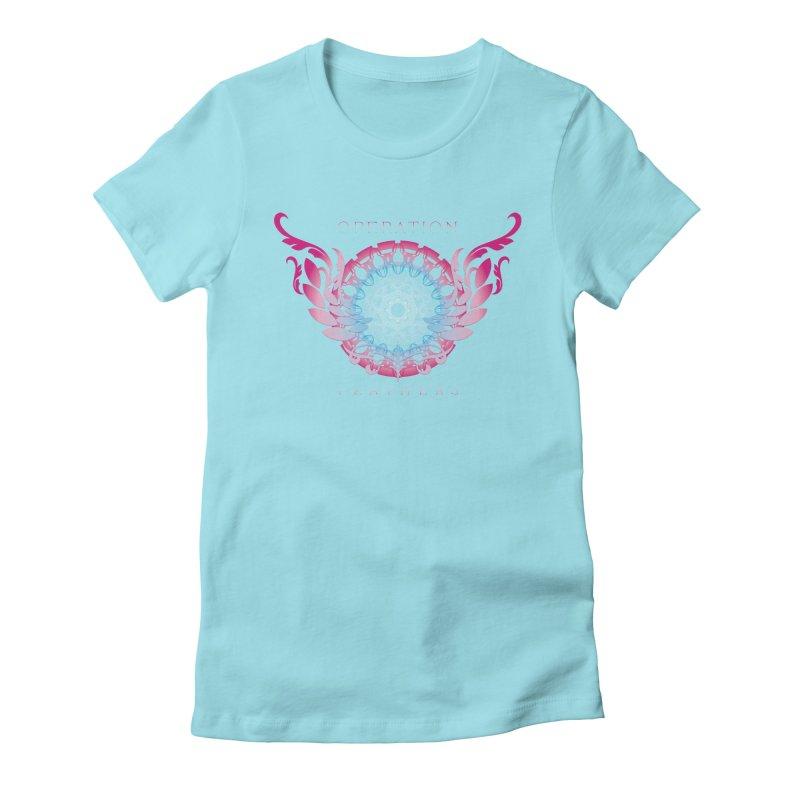 O.F. Mandala of Power - Blue Pinkburst Women's Fitted T-Shirt by The Evocative Workshop's SFX Art Studio Shop