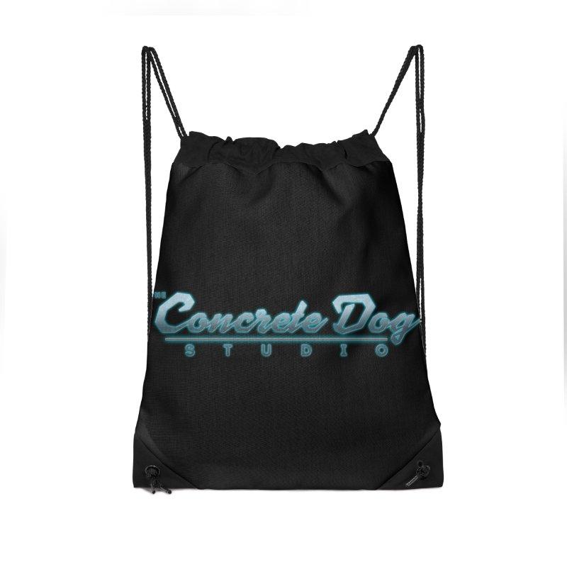 The Concrete Dog Studio Logo - Text Only Accessories Drawstring Bag Bag by The Evocative Workshop's SFX Art Studio Shop