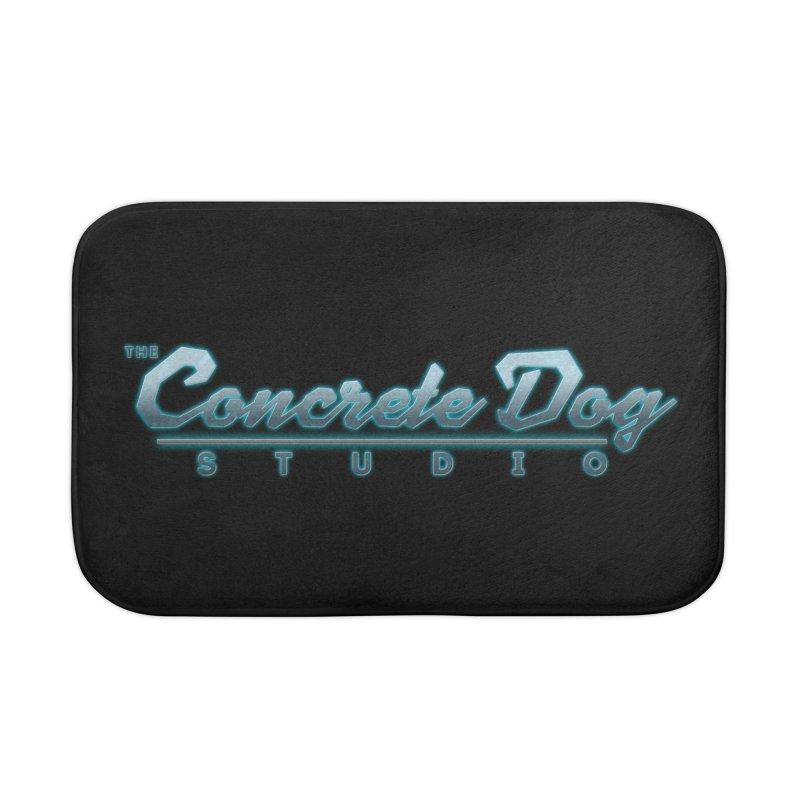 The Concrete Dog Studio Logo - Text Only Home Bath Mat by The Evocative Workshop's SFX Art Studio Shop